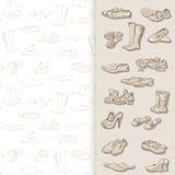 Dé los diversos tipos de dibujo de diverso calzado en vector Fotos de archivo libres de regalías