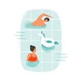 Dé los ejemplos exhaustos de los pares de la gente de la natación de la diversión del tiempo de verano de la historieta del extra Fotos de archivo libres de regalías