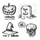 Dé los elementos exhaustos de Halloween de la caligrafía, linterna del enchufe o, bruja Imagen de archivo
