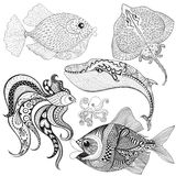 Dé los pescados exhaustos del zentangle, ballena, pulpo, pastinaca para el adulto ilustración del vector