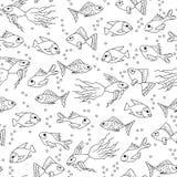 Dé los pescados exhaustos en el modelo inconsútil del agua para el colorante adulto Imágenes de archivo libres de regalías