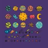 Dé los planetas exhaustos, las estrellas, los asteroides y otros objetos del espacio libre illustration