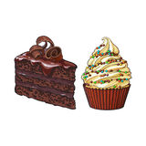Dé los postres exhaustos - magdalena y pedazo de torta de chocolate acodada ilustración del vector