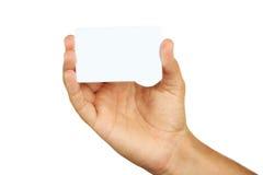 Dé mostrar una tarjeta de visita, cierre imagen de archivo
