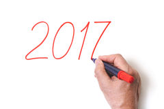 2017 Dé a números de la escritura el marcador rojo en el fondo blanco Imagen de archivo