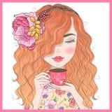 Dé a pelirrojo lindo hermoso exhausto la muchacha rizada con café en sus manos stock de ilustración
