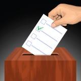Dé poner el papel de votación con la marca de cotejo aprobada en la urna Imágenes de archivo libres de regalías