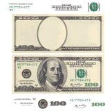 Dé salida a la plantilla y los elementos del billete de banco de 100 dólares Foto de archivo libre de regalías