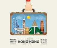 Dé a señal de Hong-Kong que lleva el viaje y el viaje globales Infog Fotos de archivo