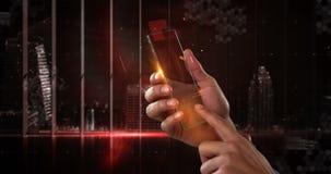 Dé sostener el teléfono móvil futurista contra fondo digital generado libre illustration