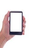 Dé sostener el teléfono móvil genérico con la pantalla en blanco Fotos de archivo libres de regalías