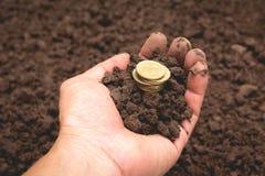 Dé sostener monedas de oro del dinero disponibles para m financiero y de ahorro fotografía de archivo libre de regalías