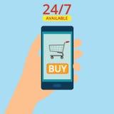 Dé sostener smartphone con la cesta en la pantalla Las compras son 24 horas disponibles Comida de la orden en línea Ejemplo plano Foto de archivo