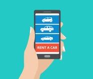 Dé sostener smartphone con los iconos del coche y alquile un botón del coche en la pantalla Concepto de diseño de la aplicación m libre illustration