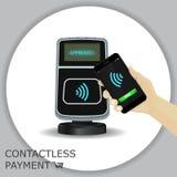 Dé sostener smartphone para pagar productos por pagos móviles Imágenes de archivo libres de regalías
