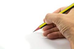 Dé sostener un lápiz aislado en el fondo blanco Imágenes de archivo libres de regalías