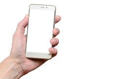 Dé sostener un teléfono aislado en un fondo blanco, situado a la izquierda para arriba Fotos de archivo libres de regalías