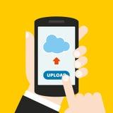 Dé sostener un teléfono móvil con un icono y abotone Pantalla táctil del finger Puede ser utilizado para un sitio web, aplicación Imagenes de archivo