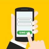 Dé sostener un teléfono móvil con un icono y abotone Pantalla táctil del finger Puede ser utilizado para un sitio web, aplicación Imagen de archivo libre de regalías