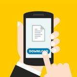 Dé sostener un teléfono móvil con un icono y abotone Pantalla táctil del finger Puede ser utilizado para un sitio web, aplicación Fotografía de archivo