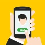Dé sostener un teléfono móvil con un icono y abotone Pantalla táctil del finger Puede ser utilizado para un sitio web, aplicación Imágenes de archivo libres de regalías