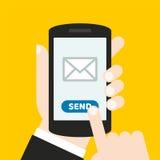 Dé sostener un teléfono móvil con un icono y abotone Pantalla táctil del finger Puede ser utilizado para un sitio web, aplicación Imagen de archivo