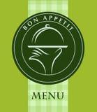 Dé sostener una bandeja del alimento, modelo del menú Fotos de archivo libres de regalías