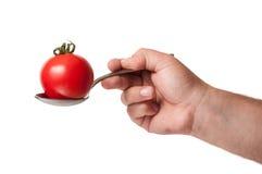 Dé sostener una cuchara con un tomate perfecto en él. Imágenes de archivo libres de regalías