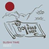 Dé a sushi del bosquejo del drenaje el diseño moderno cartel asiático del café Fotos de archivo libres de regalías