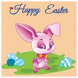 Dé a vector feliz exhausto de pascua la tarjeta en colores pastel con el caballero misterioso del conejo con el arco y eggs el pr Imagen de archivo libre de regalías