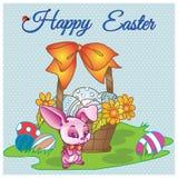 Dé a vector feliz exhausto de pascua la tarjeta en colores pastel con el caballero misterioso del conejo con el arco y la cesta c Foto de archivo