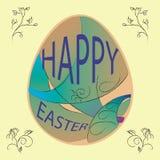 Dé a vector feliz exhausto de pascua la tarjeta en colores pastel con el ornamet del huevo y de la flor Fotografía de archivo