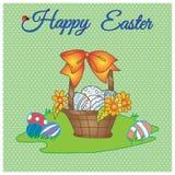 Dé a vector feliz exhausto de pascua la tarjeta en colores pastel de la cesta con los huevos, la flor y el arco en prado Foto de archivo libre de regalías