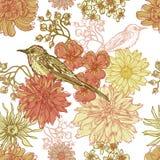 Dé a vintage exhausto el modelo inconsútil botánico con el pájaro Fotografía de archivo libre de regalías