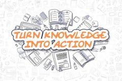 Dé vuelta al conocimiento en la acción - concepto del negocio Foto de archivo libre de regalías