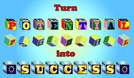 Dé vuelta al potencial en éxito. Fotografía de archivo libre de regalías