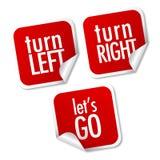 Dé vuelta a la izquierda, dé vuelta a la derecha y vayamos las etiquetas engomadas Foto de archivo libre de regalías