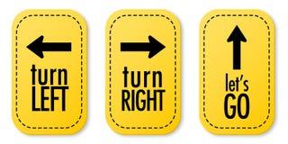 Dé vuelta a la izquierda, dé vuelta a la derecha y vayamos las etiquetas engomadas Imagenes de archivo