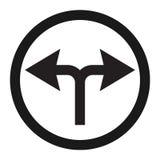 Dé vuelta a la línea izquierda o correcta icono de la señal de tráfico stock de ilustración