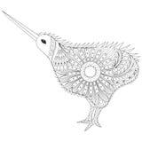 Dé a zentangle exhausto Kiwi Bird tribal, símbolo de Nueva Zelanda para stock de ilustración