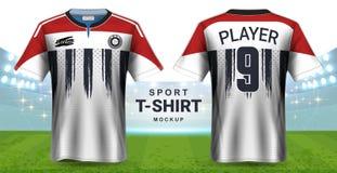 Débardeur de football et calibre de maquette de T-shirt de vêtements de sport, vue avant et arrière de conception graphique réali illustration stock