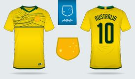 Débardeur de football ou conception de calibre de kit du football pour l'équipe de football de ressortissant d'Australie Uniforme illustration libre de droits
