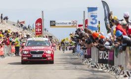 Débardeur jaune sur Mont Ventoux - Tour de France 2013 Images libres de droits