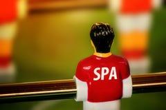 Débardeur national de l'Espagne sur le vintage Foosball, jeu de football de Tableau Photographie stock libre de droits