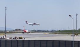 Débarquement à l'aéroport de Vienne Photos stock