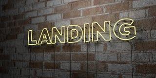DÉBARQUEMENT - Enseigne au néon rougeoyant sur le mur de maçonnerie - 3D a rendu l'illustration courante gratuite de redevance Image stock