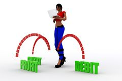 débit-crédit de bénéfice des femmes 3d Photographie stock