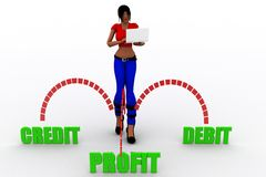 débit-crédit de bénéfice des femmes 3d Images stock
