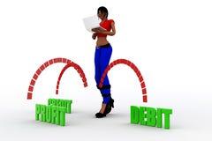 débito-crédito do lucro das mulheres 3d Fotografia de Stock