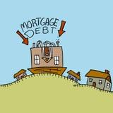 Débito de hipoteca de cabeça para baixo Imagens de Stock